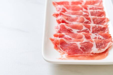 fresh sliced collar pork raw Foto de archivo