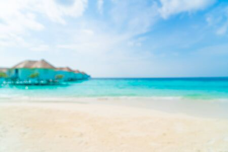 Abstract blur tropical beach and sea in Maldives for background - Holiday Vacation concept