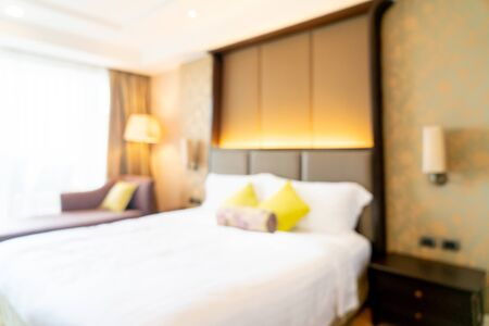 abstract blur hotel bedroom interior for background