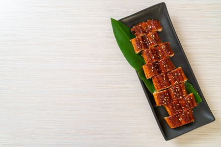 sliced grilled eel or grilled unagi with sauce (Kabayaki) - .Japanese food style
