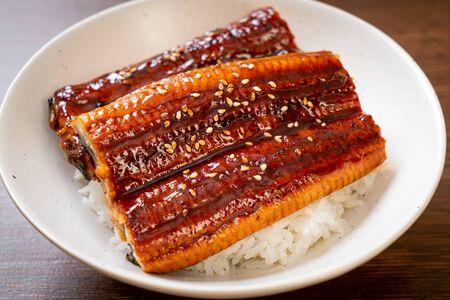 Anguille japonaise grillée avec bol de riz ou Unagi don - style de cuisine japonaise Banque d'images