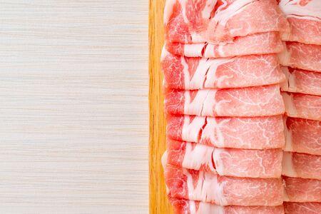 fresh raw pork sirloin sliced