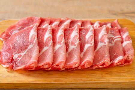 fresh sliced collar pork raw