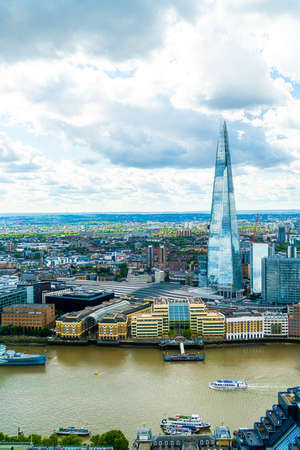 Aerial view London City with River Thames, UK