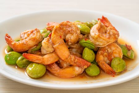Stir-Fried Twisted Cluster Bean with Shrimp - Thai food style