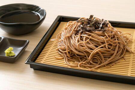 cold buckwheat soba noodles or zaru ramen - Japanese food style