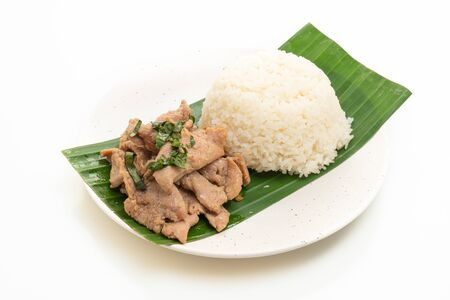 rice with grilled pork garlic isolated on white background