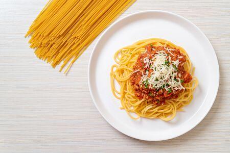 spaghetti bolognese pork or spaghetti with minced pork tomato sauce - Italian food style