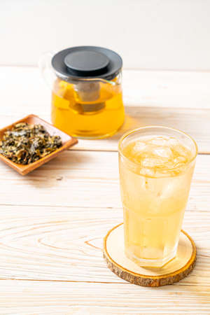 iced jasmine tea on wood background