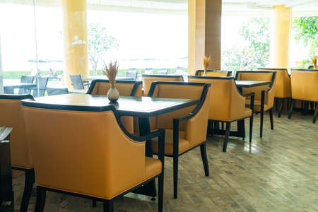 empty dinning table in cafe restaurant