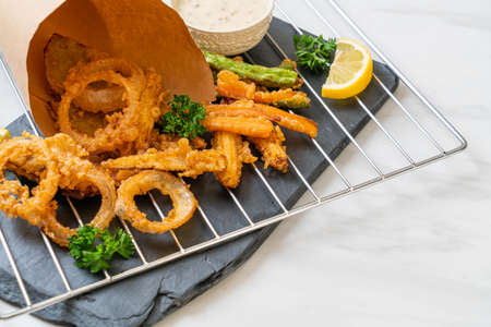 fried mixed vegetable (onions, carrot, baby corn, pumpkin) or tempura - vegetarian food style