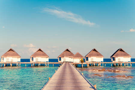 Beautiful tropical Maldives resort hotel and island with beach and sea - boost up color processing style