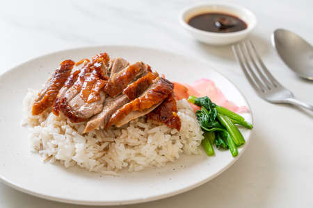 Barbecue roasted duck on rice