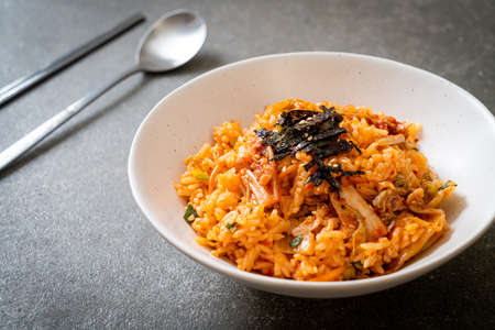 kimchi fried rice with seaweed and white sesame - Korean food style