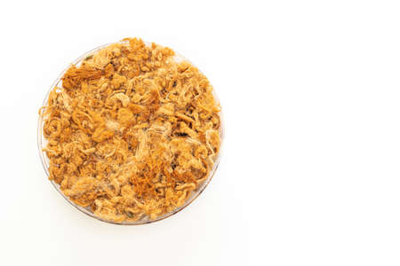crispy coconut roll with dried shredded pork isolated on white background