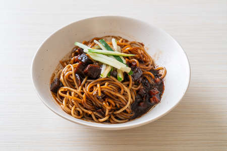 Jajangmyeon or JJajangmyeon is Korean Noodle with Black Sauce - Korean Food Style Banco de Imagens
