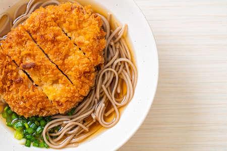 Soba ramen noodle with Japanese fried pork cutlet (tonkatsu) - Asian food style 版權商用圖片