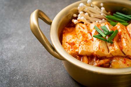 'Kimchi Jjigae' or Kimchi Soup with Soft Tofu or Korean Kimchi Stew - Korean Food Traditional Style