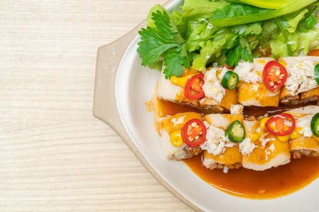 fresh spring roll with crab and sauce and vagetable - healthy food style Stock Photo
