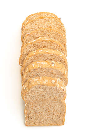 sliced wholegrain bread isolated on white background