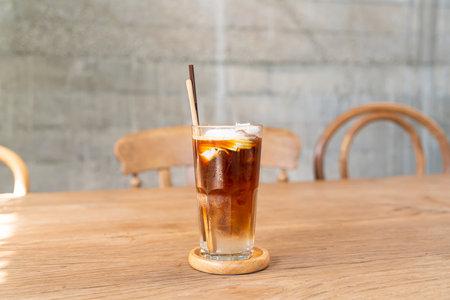 espresso coffee with coconut juice in coffee shop cafe