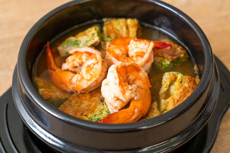Sour soup made of Tamarind Paste with Shrimps and Vegetable Omelet - Asian food style Stok Fotoğraf
