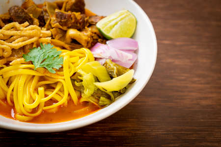Northern Thai noodle curry soup with braised pork - Thai food style