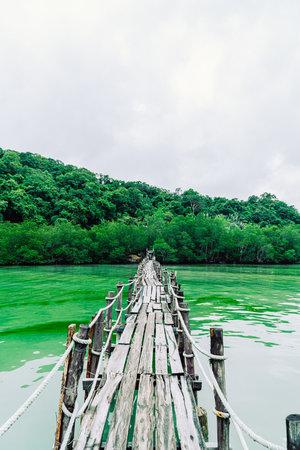 wooden bridge atTalet Bay in Khanom, Nakhon Sri Thammarat tourist travel landmark in Thailand