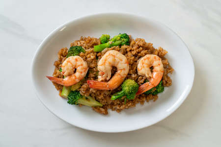 fried rice with broccoli and shrimps - Homemade food style