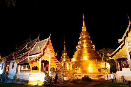 beautiful architecture at Wat Phra Sing Waramahavihan temple at nught in Chiang Mai province, Thailand.