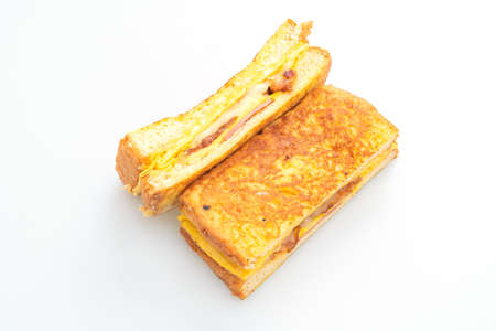 French toast ham bacon cheese sandwich with egg isolated on white background Stock fotó