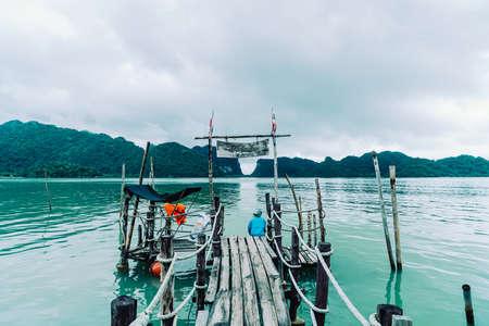 wooden bridge at Talet Bay in Khanom, Nakhon Sri Thammarat tourist travel landmark in Thailand