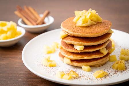 apple pancake or apple crepe with cinnamon powder