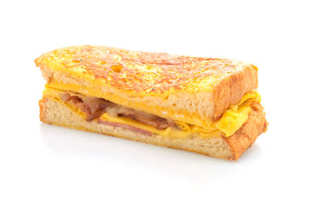 French toast ham bacon cheese sandwich with egg isolated on white background