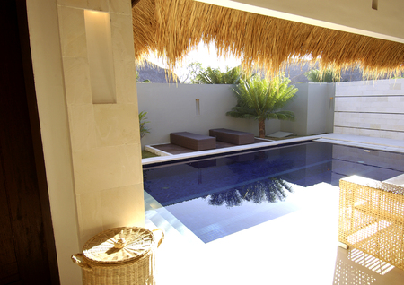 thatched: Swimming pool in front of a house with a thatched roof Stock Photo