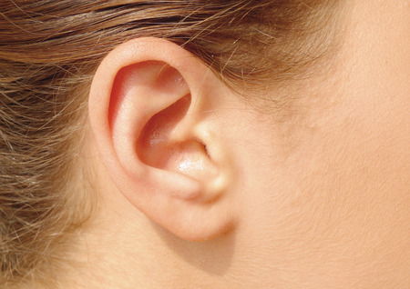 Close-up of a young womans ear