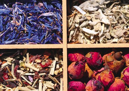 Close-up of assorted dried herbs