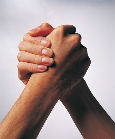 Close-up of two hands in an arm wrestling grip Stock Photo - 2206022