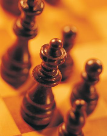 High angle view of chess pieces