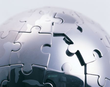 Close-up of a ball shaped jigsaw puzzle photo