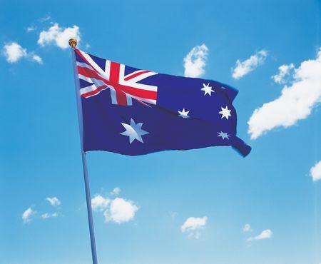 glorification: Low angle view of the Australian flag on a pole