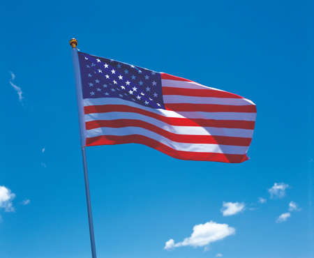 Low angle view of the American flag on a pole Stock Photo - 2225720