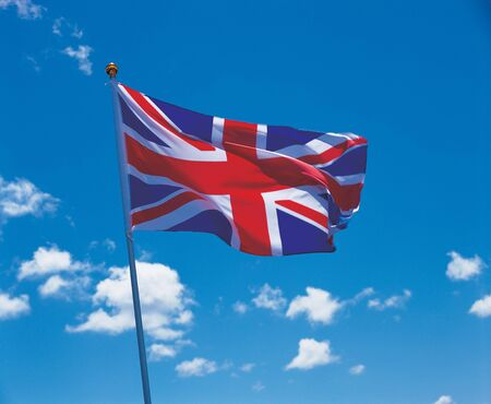 glorification: Low angle view of the British flag on a pole