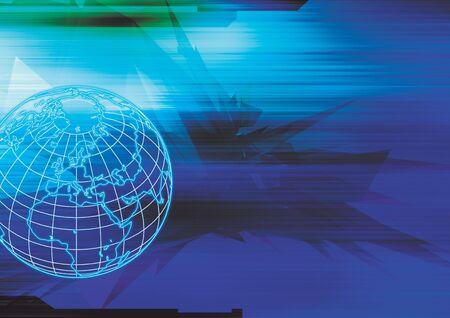 superimposed: Digital globe superimposed on a blue pattern