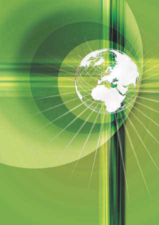 superimposed: Globe superimposed on a green background Stock Photo