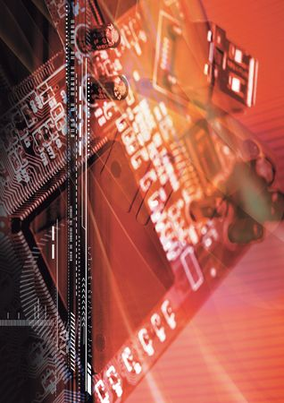superimposed: Black lines superimposed on a circuit board