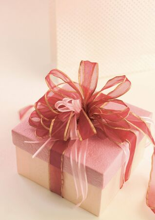 High angle view of a bow of ribbons on a present
