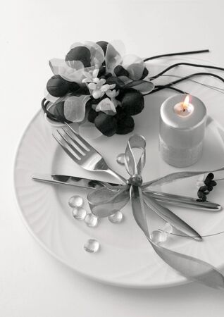 High angle view of a decorated dinner setting photo