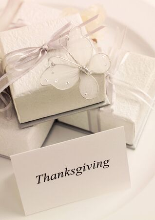 High angle view of a thanksgiving tent card and presents Stock Photo