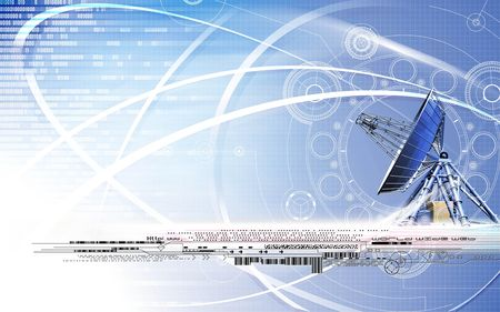 superimposed: Satellite dish superimposed on a grey background